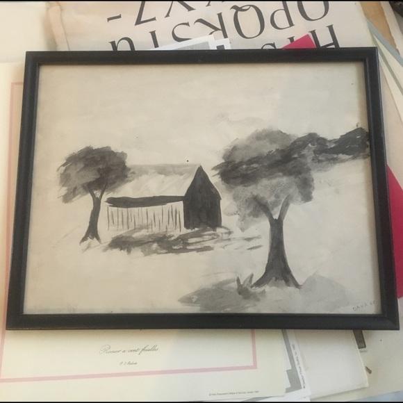 Vintage Black White Watercolor Framed Barn Tree